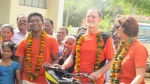 Bike Ride Nov 2014 - Welcome at Leprosy Colony.JPG